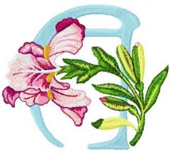Iris Letter A embroidery design