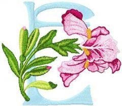 Iris Letter E embroidery design