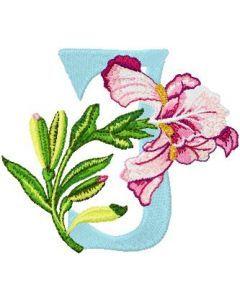 Iris Letter J embroidery design