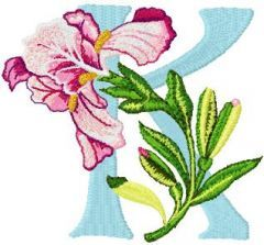 Iris Letter K embroidery design