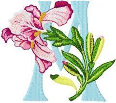 Iris Letter M embroidery design