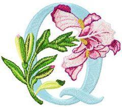 Iris Letter Q embroidery design