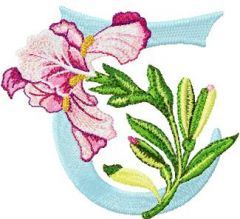 Iris Letter T embroidery design