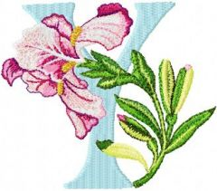 Iris Letter Y embroidery design