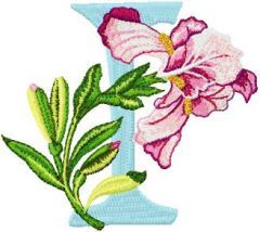 Iris Letter I embroidery design