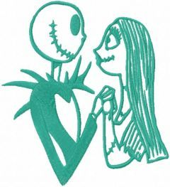 Jack and Sally forever one color embroidery design