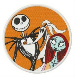 Jack, Sally and Zero badge embroidery design