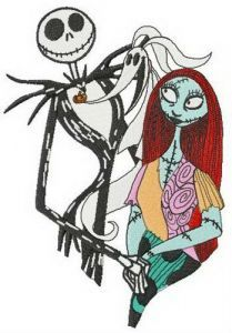 Jack, Sally and Zero embroidery design