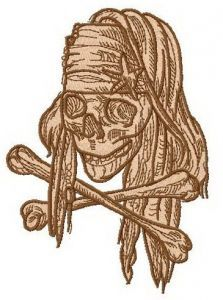Jack Sparrow's skull embroidery design