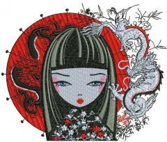 Japanese girl 2 embroidery design