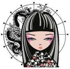 Japanese girl 4 embroidery design