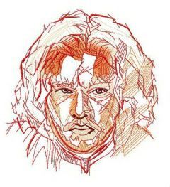 Jon Snow fast sketch embroidery design