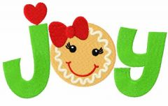Joy gingerbread free embroidery design