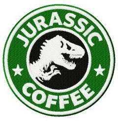 Jurassic coffee embroidery design