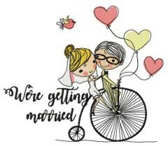 Just married on bike embroidery design