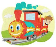 Kid's train embroidery design