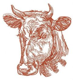 Kind cow embroidery design