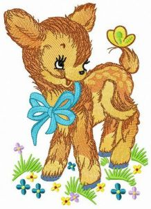Kind fawn embroidery design