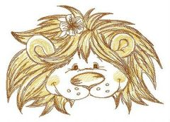 Kind lion muzzle embroidery design