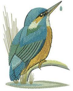 Kingfisher near lake embroidery design