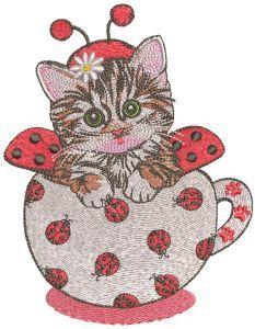 Kitten in ladybug costume embroidery design