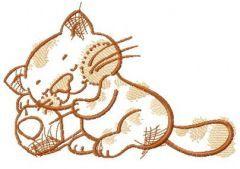 Kitten sleeping on pencil embroidery design