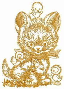 Kitten with chickens embroidery design