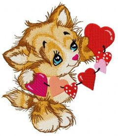 Kitten with garland of hearts embroidery design