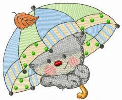Kitten with umbrella embroidery design