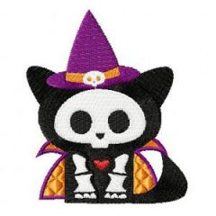Skelanimals Halloween Cat embroidery design