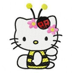 Hello Kitty Bee embroidery design