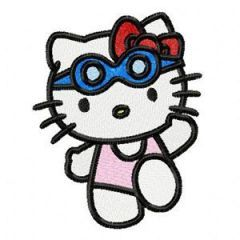 Hello Kitty Swims embroidery design