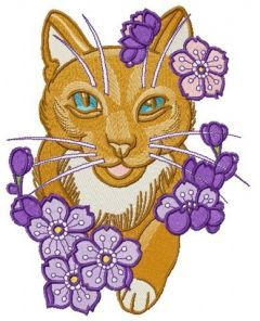 Kitty with purple flowers embroidery design