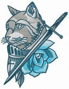 Knight cat embroidery design