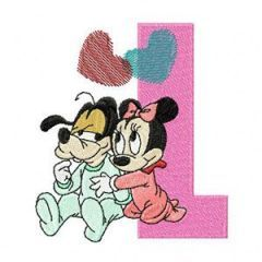 Mickey Mouse and Minnie Mouse L Love embroidery design