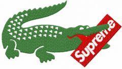 Lacoste supreme logo embroidery design
