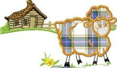 Landscape with lamb embroidery design