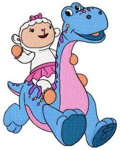Lambie riding dinosaur embroidery design