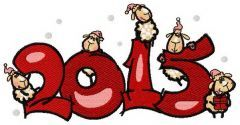 Lamb's year embroidery design