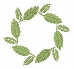 Leaf wreath embroidery design