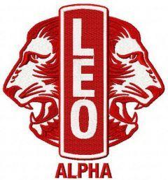 Leo Club logo embroidery design