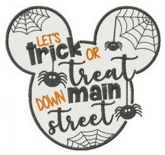 Let's trick or treat down main street embroidery design