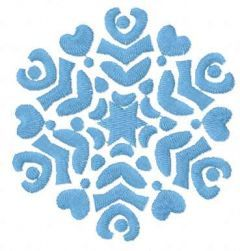 Light blue snowflake embroidery design