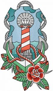 Lighthouse anchor and rose embroidery design