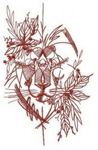Lion hiding in bushes embroidery design
