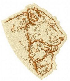 Lion's family embroidery design