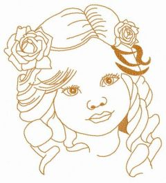 Little curious girl free embroidery design