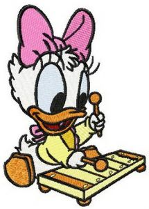 Little Daisy Duck plays xylophone embroidery design