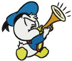Little Donald Duck plays trumpet embroidery design