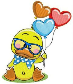 Little duck with balloons embroidery design
